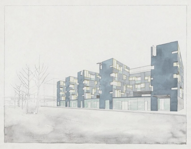 Void Space / Hinged Space Housing - Akvarel - foto: Steven Holl Architects